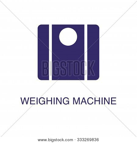 Weighing Machine Element In Flat Simple Style On White Background. Weighing Machine Icon, With Text