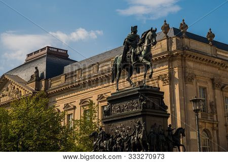 Berlin, Germany: The Equestrian Statue Of Frederick The Great Located At Unter Den Linden Boulevard