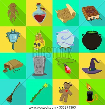 Vector Design Of Witchcraft And Mystic Icon. Collection Of Witchcraft And Magic Vector Icon For Stoc