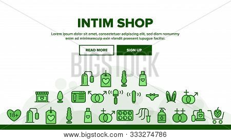 Intim Shop Landing Web Page Header Banner Template Vector. Contraception And Different Intim Devices