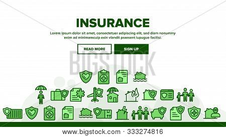 Insurance Landing Web Page Header Banner Template Vector. House Insurance From Fire And Lightning, F