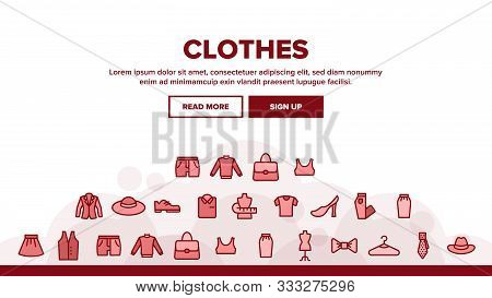 Fashion And Clothes Landing Web Page Header Banner Template Vector. Shoes, Hat, Clothing Varieties A