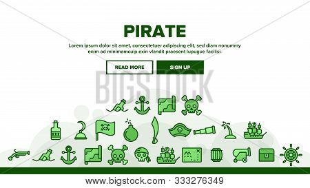 Pirate Things Landing Web Page Header Banner Template Vector. Pirate Triangle Hat And Sabre, Skull W