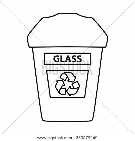 Isolated Object Of Dustbin And Trash Icon. Web Element Of Dustbin And Glass Vector Icon For Stock.