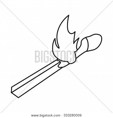 Vector Illustration Of Matchstick And Match Symbol. Graphic Of Matchstick And Fire Stock Symbol For