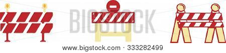 Roadblock Icon Isolated On White Background Waiting, Warning, White, Work