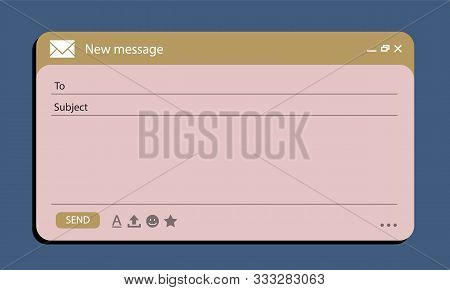 Email Interface Banner For Browser Message. Mock Up For Your Text. Vector Stock Illustration Eps10