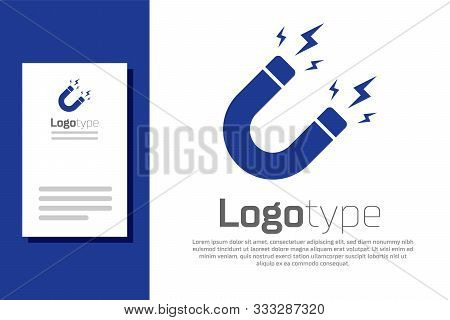 Blue Magnet With Lightning Icon Isolated On White Background. Horseshoe Magnet, Magnetism, Magnetize