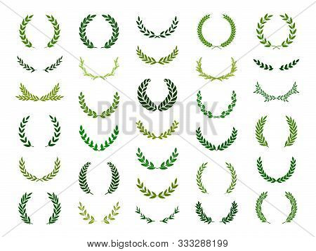 Set Of Green Silhouette Laurel Foliate, Oak  And Wheat Wreaths Depicting An Award, Achievement, Hera