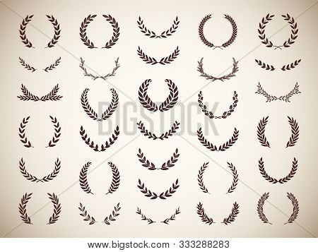 Collection Of Different Golden Silhouette Laurel Foliate And Wheat Wreaths Depicting An Award, Achie