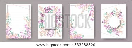 Simple Herb Twigs, Tree Branches, Flowers Floral Invitation Cards Templates. Plants Borders Retro In