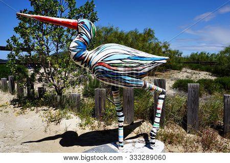 Tróia, Portugal - 29 April 2018: Colorful Big Bird Sculpture Of Tróia In Portugal