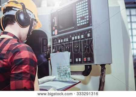 Asian Man Inspector Engineer Industry Control Monitor Computer Press Button Machines Factory Inspect