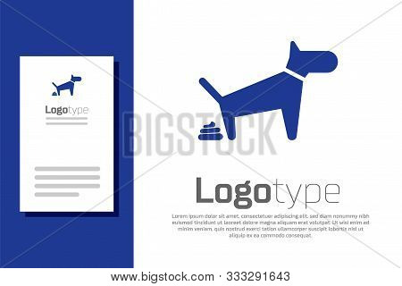 Blue Dog Pooping Icon Isolated On White Background. Dog Goes To The Toilet. Dog Defecates. The Conce