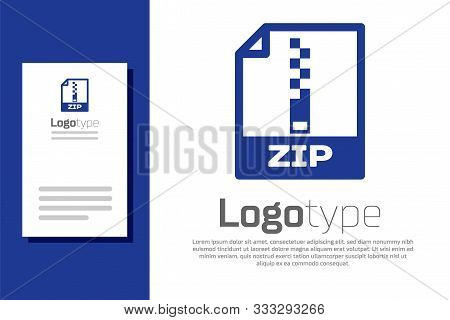 Blue Zip File Document. Download Zip Button Icon Isolated On White Background. Zip File Symbol. Logo