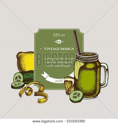 Badge Design With Colored Lemons, Smothie Jars, Cucumber Stock Illustration