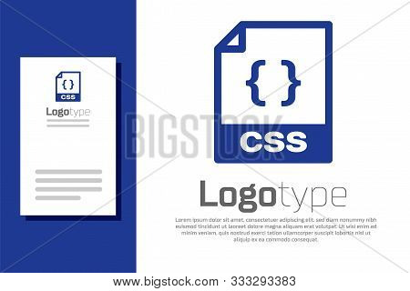 Blue Css File Document. Download Css Button Icon Isolated On White Background. Css File Symbol. Logo