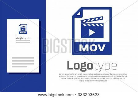 Blue Mov File Document. Download Mov Button Icon Isolated On White Background. Mov File Symbol. Audi