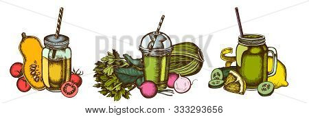 Smoothies Set Of Colored Lemons, Radish, Cherry Tomatoes, Pumpkin, Smoothie Cup, Smothie Jars, Cucum