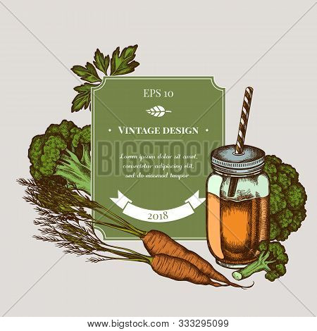 Badge Design With Colored Broccoli, Greenery, Carrot, Smothie Jars Stock Illustration