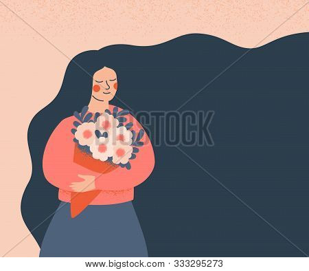 Dreamy Woman Holding A Bouquet Of Flowers. Concept For The  Mother's Day, Valentine's Day, March 8 W