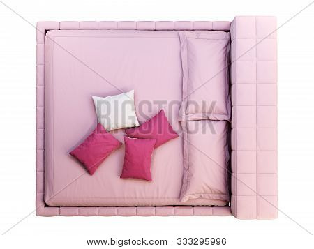 Modern double bed on white background. Leather upholstery frame and high headboard. Modern bed linen and pelt. 3d render poster