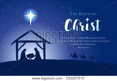Christmas Scene Of Baby Jesus In The Manger With Mary And Joseph In Silhouette, Bethlehem Star And T