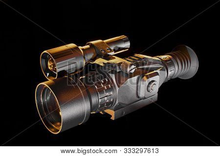 Night Vision Rifle Scope With Orange Highlights On Black