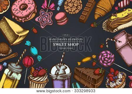 Design On Dark Background With Cinnamon, Macaron, Lollipop, Bar, Candies, Oranges, Buns And Bread, C