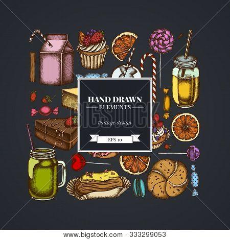 Square Design On Dark Background With Cinnamon, Macaron, Lollipop, Bar, Candies, Oranges, Buns And B