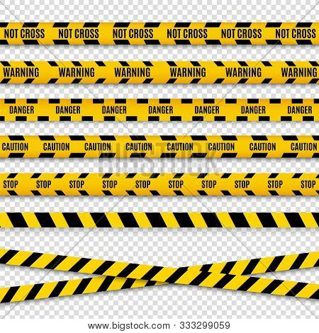 Police Caution Danger Line. Warning Barrier. Black And Yellow Security Vector Ribbon.
