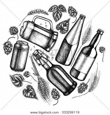 Round Design With Black And White Rye, Hop, Mug Of Beer, Bottles Of Beer, Aluminum Can Stock Illustr