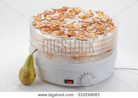 Fresh Pear And Dried Slices Spread In An Electric Dehydrator On White Background. Drying Fruits For