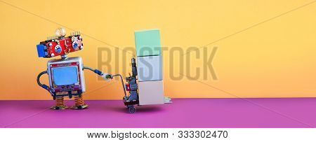 Robot Delivery Service Concept. Mechanical Robotic Toymoving Pushcart Mechanism With Boxes. Yellow P