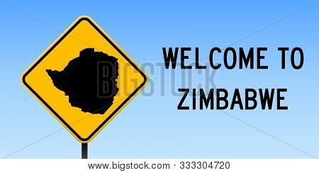 Zimbabwe Map Road Sign. Wide Poster With Country Outline On Yellow Rhomb Signboard. Vector Illustrat