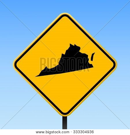 Virginia Map Road Sign. Square Poster With Us State Outline On Yellow Rhomb Signboard. Vector Illust