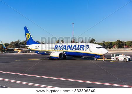 Rome Ciampino, Italy - January 12, 2019: Ryanair plane on the Ciampino Airport near Rome. Ryanair is the biggest low-cost airline company in Europe.