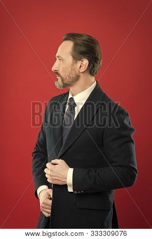 First Impression Concept. Impeccable Style. Businessman Fashionable Outfit. Attractive Man Wear Suit