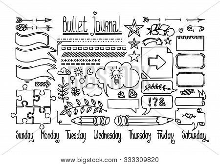 Bullet Journal And Diary Elements Isolated On White. Cute Hand Drawn Line Doodles, Speech Bubble Fnd