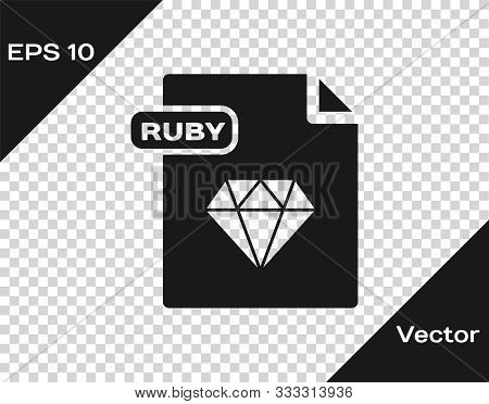 Grey Ruby File Document. Download Ruby Button Icon Isolated On Transparent Background. Ruby File Sym