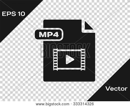 Grey Mp4 File Document. Download Mp4 Button Icon Isolated On Transparent Background. Mp4 File Symbol
