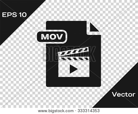 Grey Mov File Document. Download Mov Button Icon Isolated On Transparent Background. Mov File Symbol
