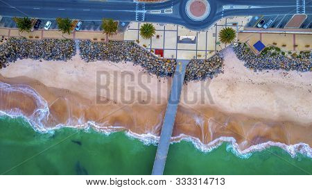 Top Down Aerial View Over Brighton Esplanade, Beach And Jetty, Adelaide