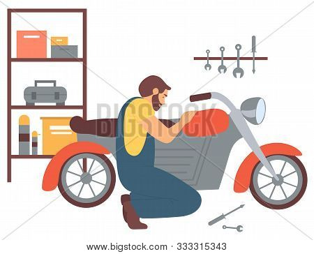Man At Mechanics Shop Vector, Person Fixing Motorcycle, Hobby Of Male In Garage With Tools. Person T