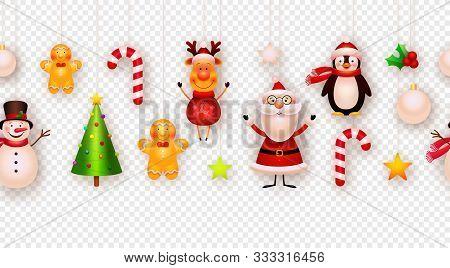 Christmas Decor, Hanging Ornaments Vector Background. Garland. Christmas Tree, Snowman, Santa, Star,