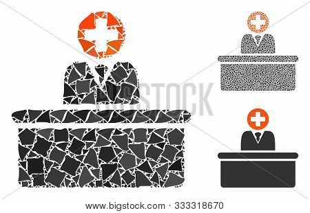 Medical Bureaucrat Mosaic Of Ragged Items In Variable Sizes And Shades, Based On Medical Bureaucrat