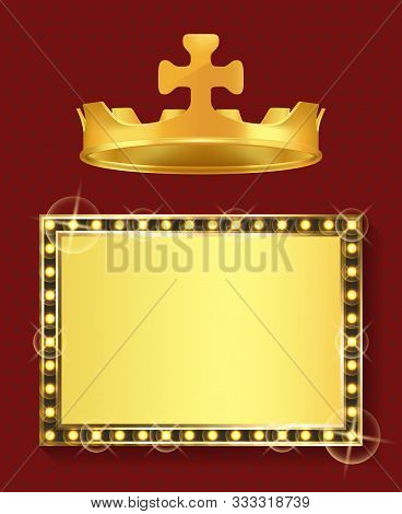 King Or Queen Jewelry, Gold Frame And Royal Crown Vector. Blank Framework, Shiny Borderline And Mona