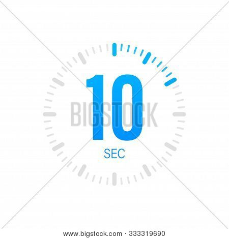 The 10 Second, Timer, Stopwatch Vector Icon. Stopwatch Icon In Flat Style. Vector Stock Illustration