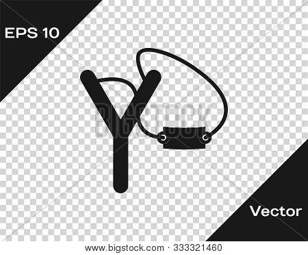 Grey Slingshot Icon Isolated On Transparent Background. Vector Illustration