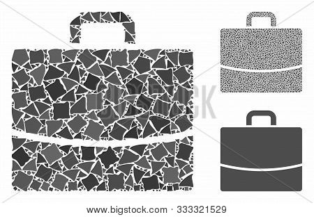 Briefcase Mosaic Of Abrupt Parts In Different Sizes And Color Tones, Based On Briefcase Icon. Vector